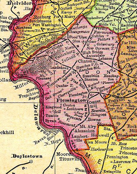 Map Nj Hunterdon 1895