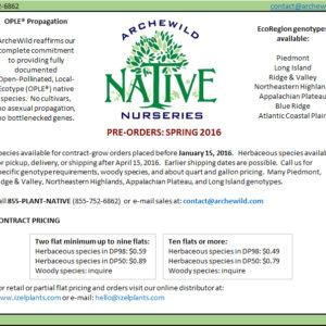 ArcheWild Native Plant Plug Availability 2016