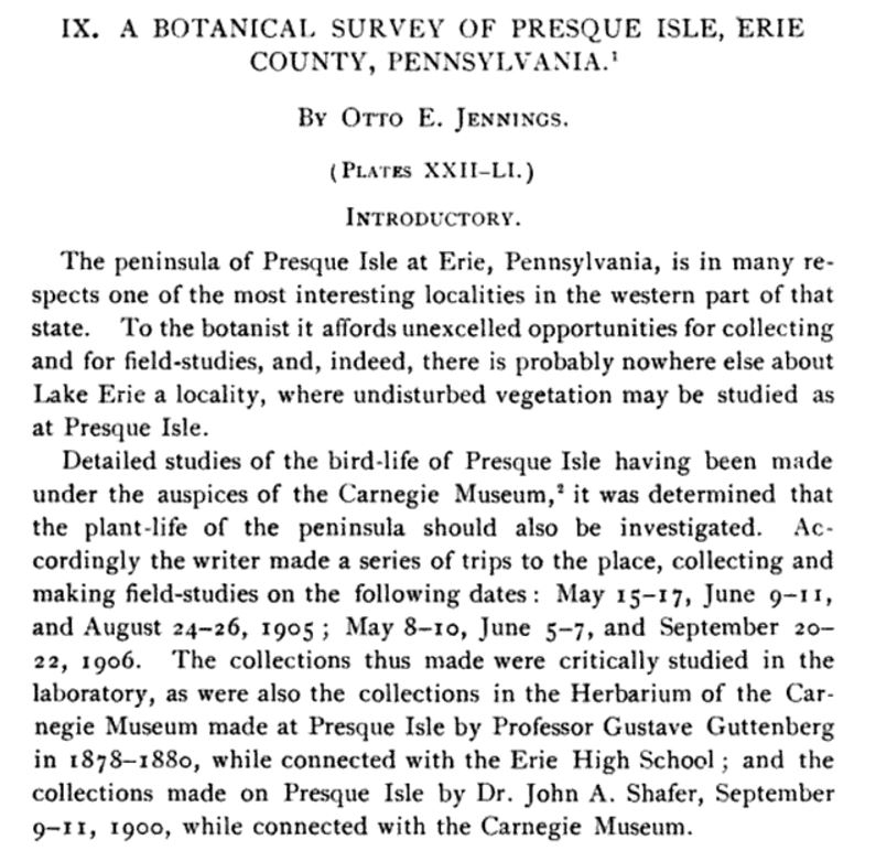 A Botanical Survey Of Presque Isle Erie County Pennsylvania By Otto E Jennings – Cover Image